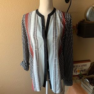 Sanctuary Women's Striped Geometric Blouse L